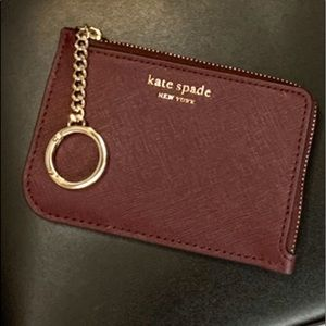 KATE SPADE LEATHER KEYCHAIN ZIP AROUND CARD HOLDER